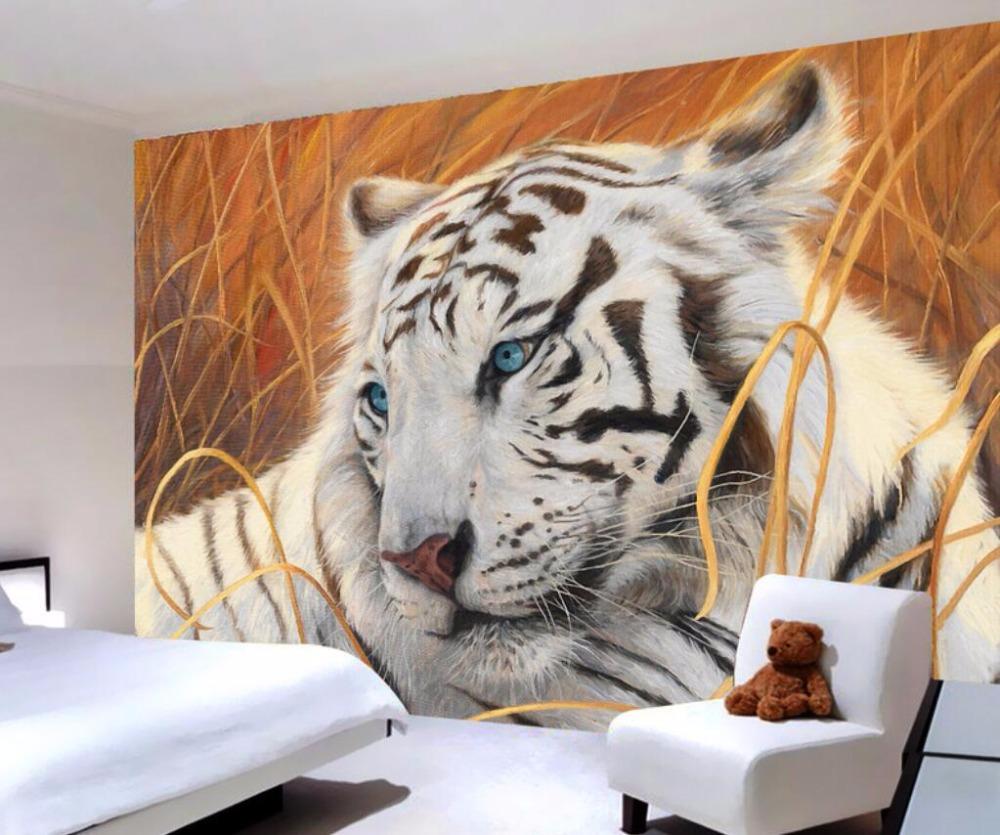 Custom made 3d white tiger residential bedroom wallpaper